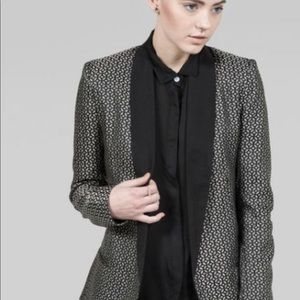 BB Dakota black and silver jacquard blazer